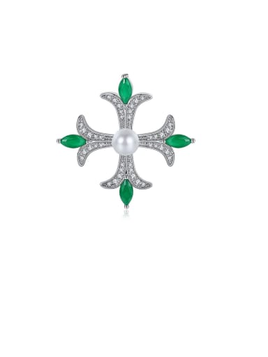 Copper With Platinum Plated Personality Cubic Zirconia Cross Brooches