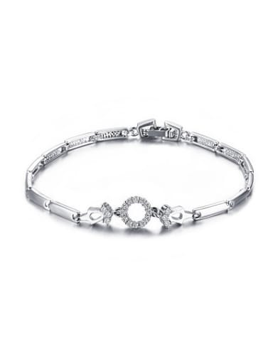 All-match Round Shaped Platinum Plated Zircon Bracelet