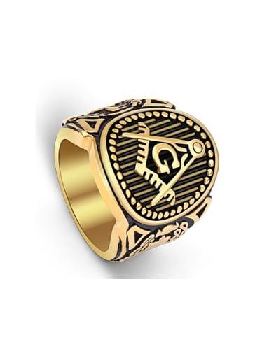 Retro Freemason Logo Exaggerated Statement Ring