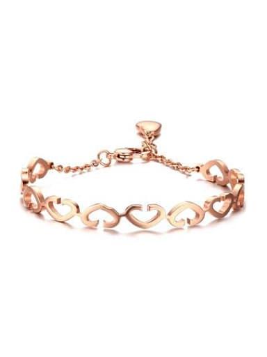Temperament Rose Gold Plated Hollow Heart Shaped Bracelet