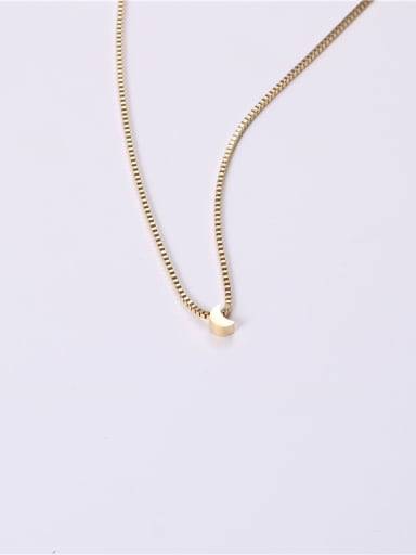 Titanium With Gold Plated Simplistic Moon Necklaces