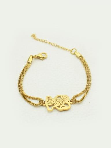 Hollow Bear Double Chain Bracelet