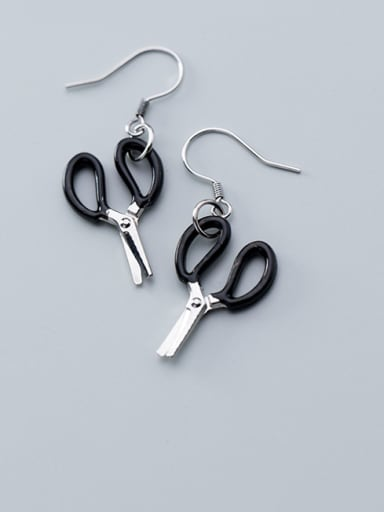 925 Sterling Silver With Platinum Plated Simplistic Geometric Hook Earrings