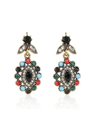 Bohemia style Colorful Resin stones White Crystals Alloy Earrings