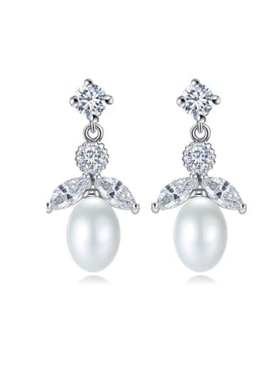 Copper inlaid AAA zircon imitation pearl exquisite ear studs