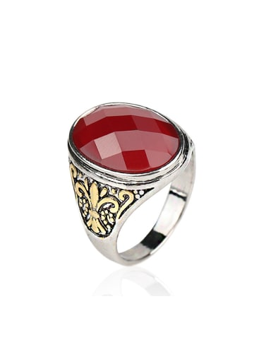 Retro Oval Resin stone Double Color Plated Alloy Ring