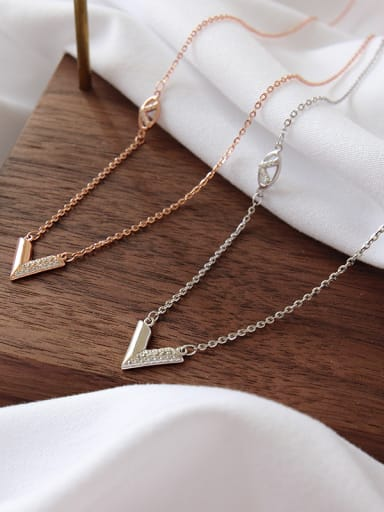 "925 Sterling Silver With Platinum Plated Simplistic word ""V"" Necklaces"
