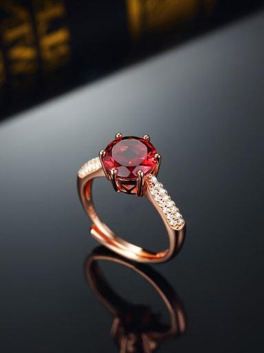 Rose Gold Plated Red Garnet Gemstone Engagement Ring