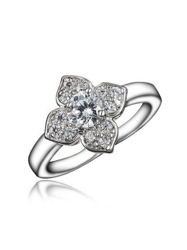Fashion 18K Platinum Plated Flower Shaped Zircon Ring