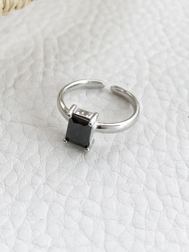 925 Sterling Silver With Platinum Plated Simplistic Square Solitaire Rings