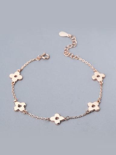 Simple Tiny Four-leaf Clovers 925 Silver Bracelet