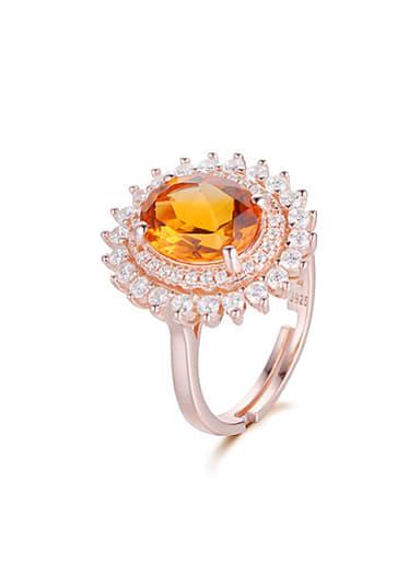 Fashion Citrine Gemstone Zircon Flowery Engagement Ring