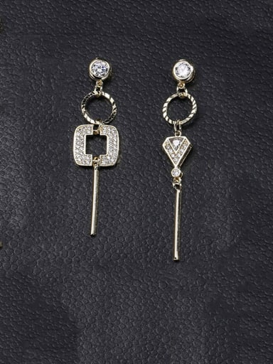 Copper With Platinum Plated Simplistic Asymmetry  Irregular Drop Earrings