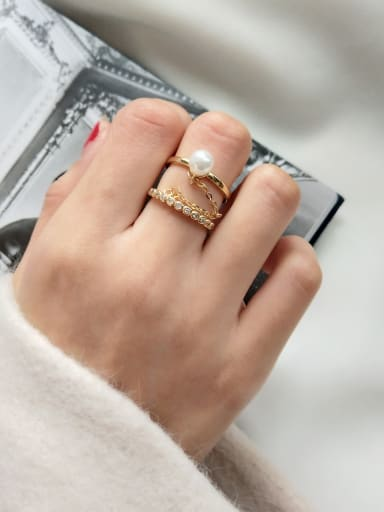 Sterling silver micro-inlaid zircon imitation pearl ring
