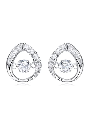 Fashion White Rotational Zircon 925 Silver Stud Earrings