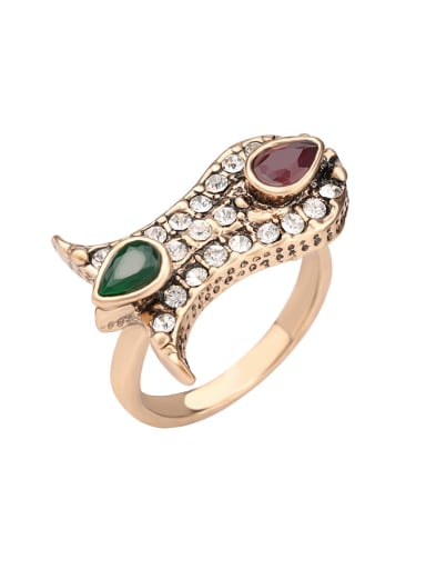 Gold Plated Resin stones Crystals Alloy Ring
