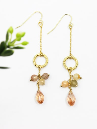 Exquisite Multi-color Zircons Round Shaped Earrings