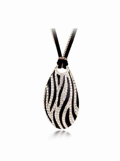 Fashion Water Drop Zebra-stripe Pendant Alloy Sweater Chain