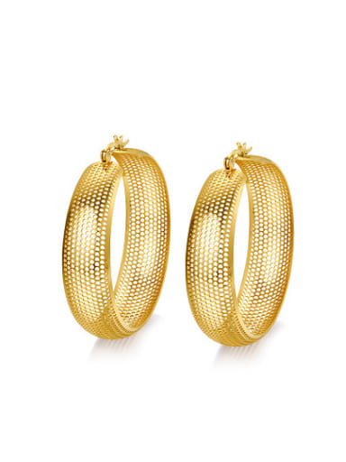 Luxury Hollow Design Gold Plated Titanium Drop Earrings