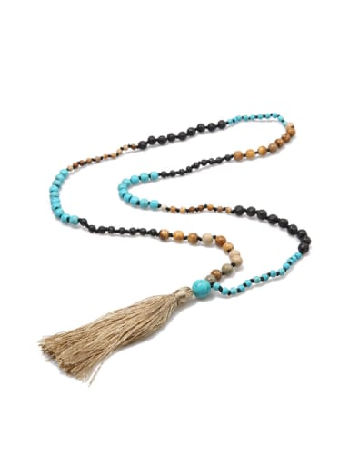 Volcanic Stone Hand-made Tassel Sweater Necklace