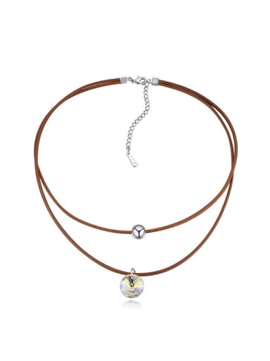 Simple Double Rope Swarovski Crystal Alloy Necklace