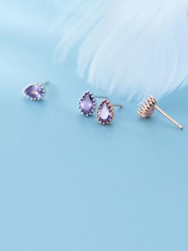 925 Sterling Silver With Cubic Zirconia Simplistic Water Drop Stud Earrings