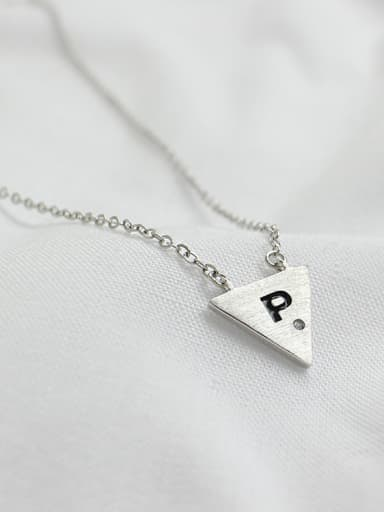 Simple Triangle Letter P Pendant Silver Necklace
