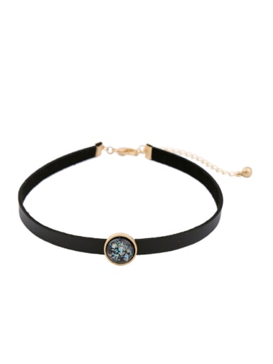 Simple Colorful Artificial Stones Alloy Choker
