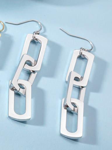 Stainless Steel Personality Geometry Long  Drop Earrings