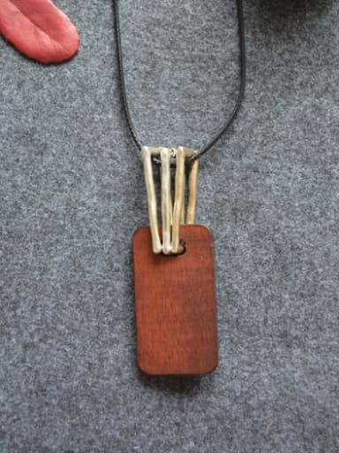 All-match Wooden Square Shaped Necklace