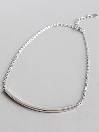 925 Sterling Silver With Platinum Plated Simplistic Square pipe cross chain Anklets