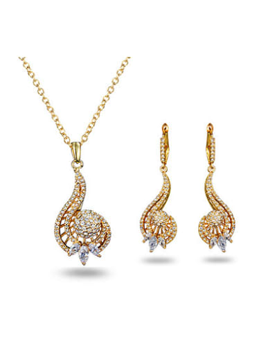 High Quality 18K Gold Plated Zircon Two Pieces Jewelry Set