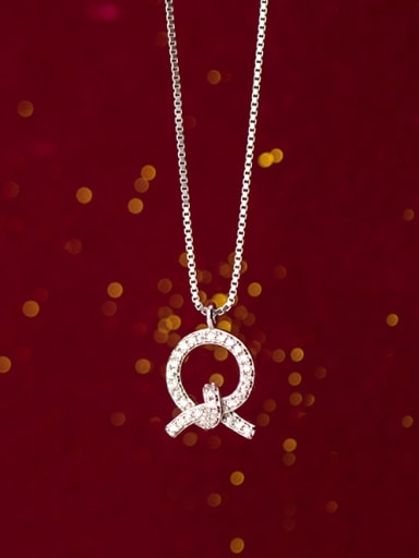 925 Sterling Silver With White Gold Plated Simplistic Round Necklaces