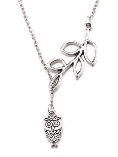 Fashion Owl Hollow Leaves Necklace