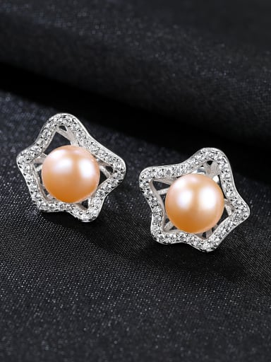 Sterling Silver AAA zircon natural freshwater pearl earrings