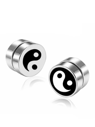 Stainless Steel With Trendy Round Stud Earrings