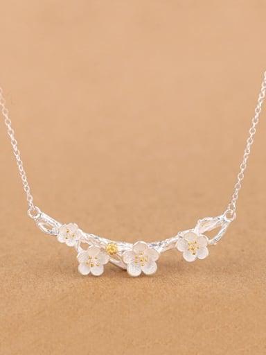 Fashion Elegant Flowers Silver Necklace