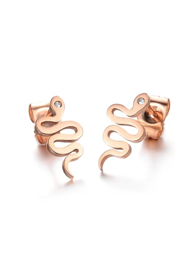 Personalized Little Snake Titanium Rose Gold Plated Stud Earrings