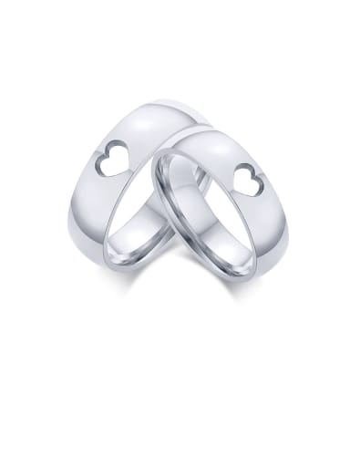 Stainless Steel With Platinum Plated Simplistic Heart Band Rings