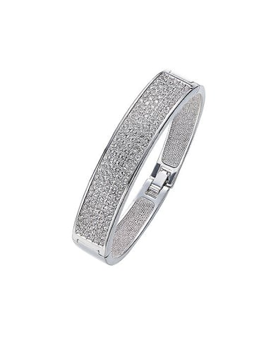 White Gold Plated Crystals Bangle