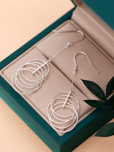 925 Sterling Silver With Platinum Plated Bohemia Round Hook Earrings