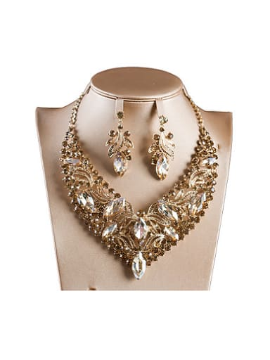 Oval Glass Rhinestones Two Pieces Jewelry Set