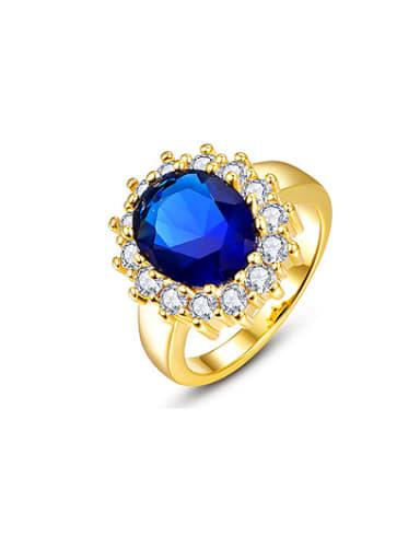 Women 18K Gold Zircon Engagement Ring