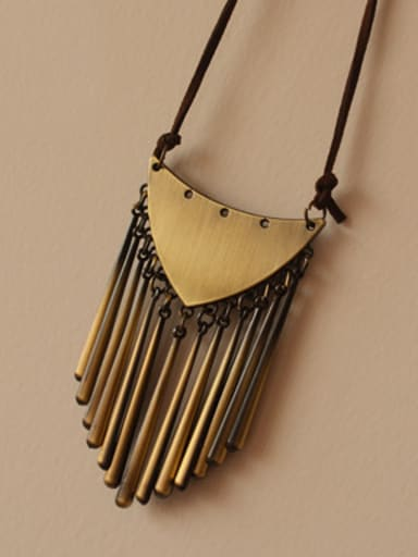 Antique Copper Plated Tassels Necklace