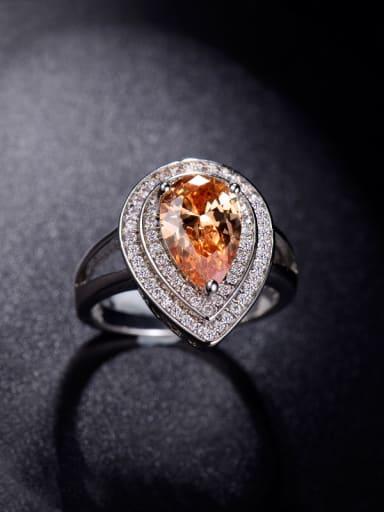 Beautiful Water Drop Zircons Engagement Ring