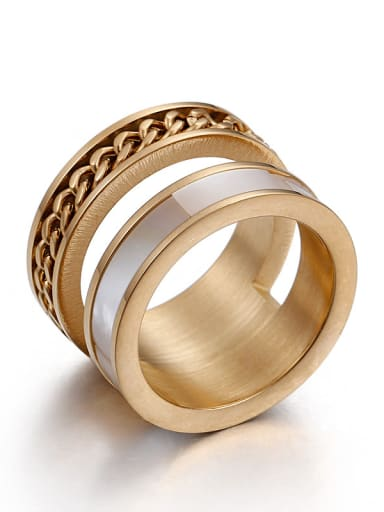 Stainless Steel With Gold Plated Shell Fashion Rings