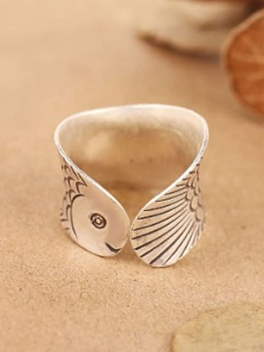 Personalized Fish Handmade Silver Ring