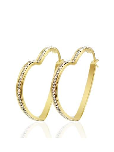 Elegant Gold Plated Heart Shaped Rhinestones Drop Earrings
