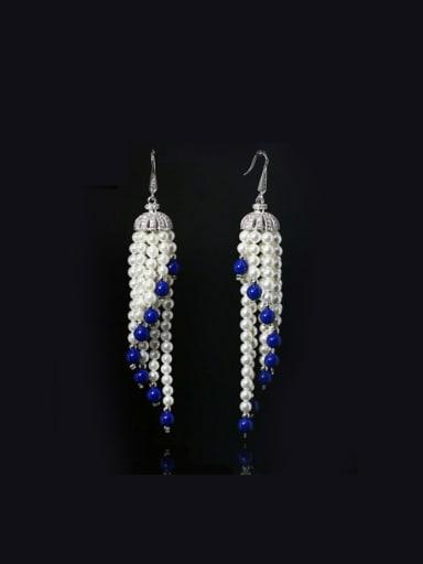 Retro Shell Pearls Tassel hook earring