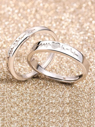 925 Sterling Silver  Simplistic Heart Lovers Free Size  Rings